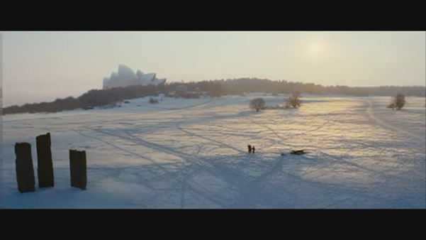 Still from Sunshine showing Sydney Opera House amidst a frozen over harbour